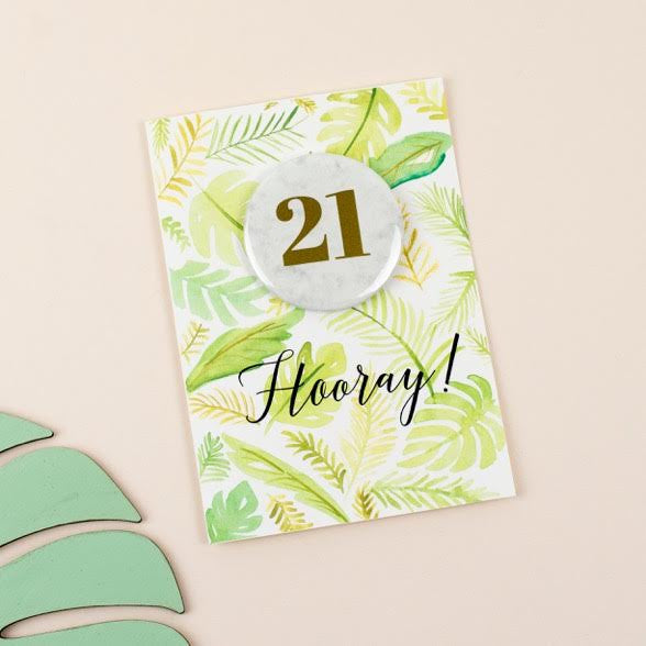 Palm Print Luxury 21st Birthday Card by Oh Squirrel