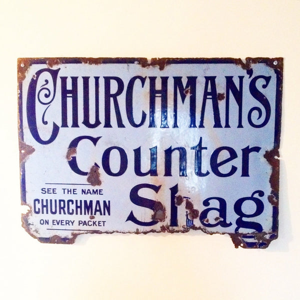 Enamel Wall Sign Churchmans Counter Shag