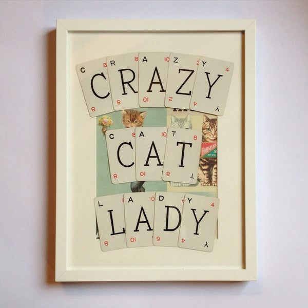 Crazy Cat Lady Vintage Playing Cards Wall Art by Ivy Joan