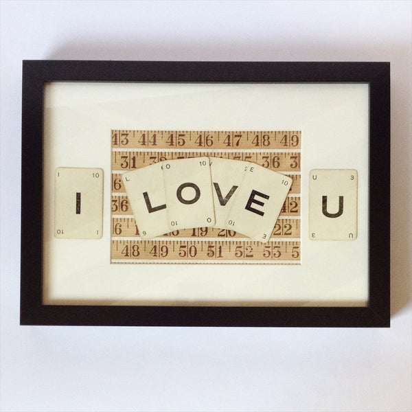 I Love You Vintage Playing Card Frame by Ivy Joan