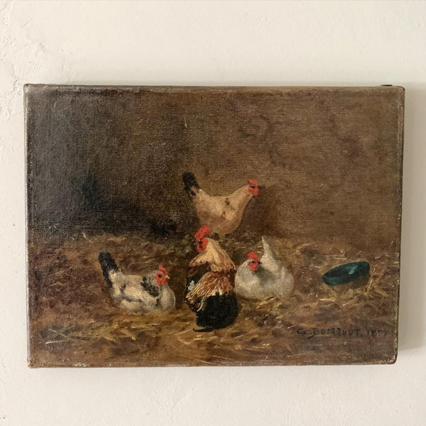 Small French Chicken Painting 1877