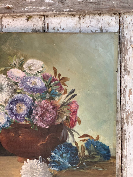 Vintage Floral Painting on Canvas