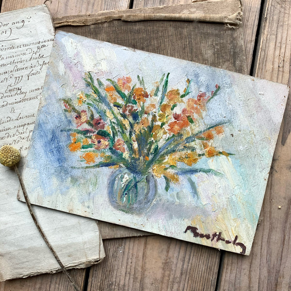 Small French Floral Oil Painting, known artist