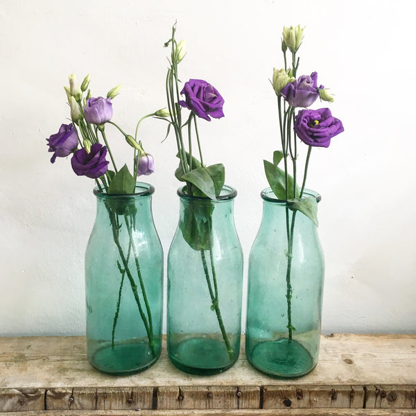 Vintage Blown Aqua Bottles