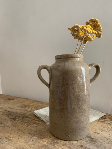 French Vintage Tall Handled Stoneware Pot