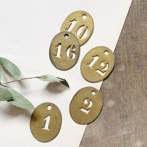 Small Vintage Brass Numbered Tags