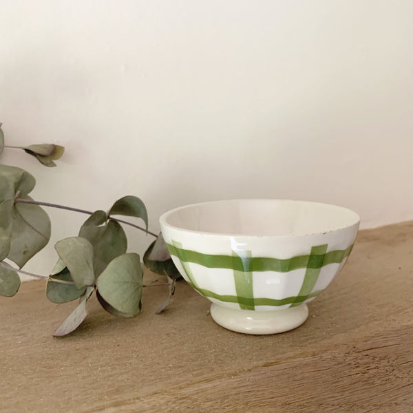 Mini Green Gingham Detail Cafe au Lait bowl