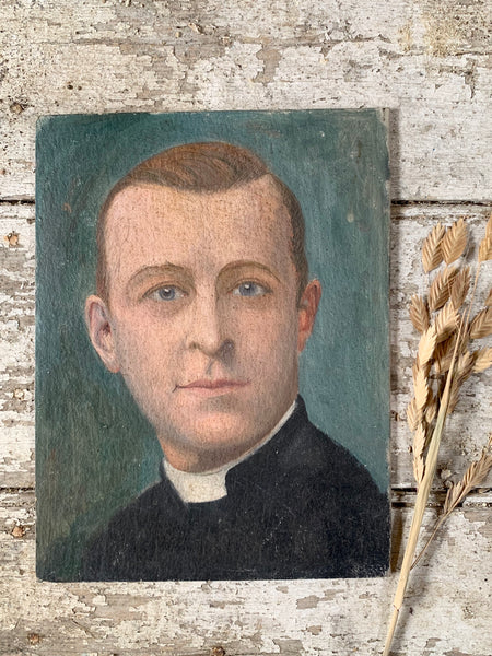 Vintage French Vicar Portrait on Board