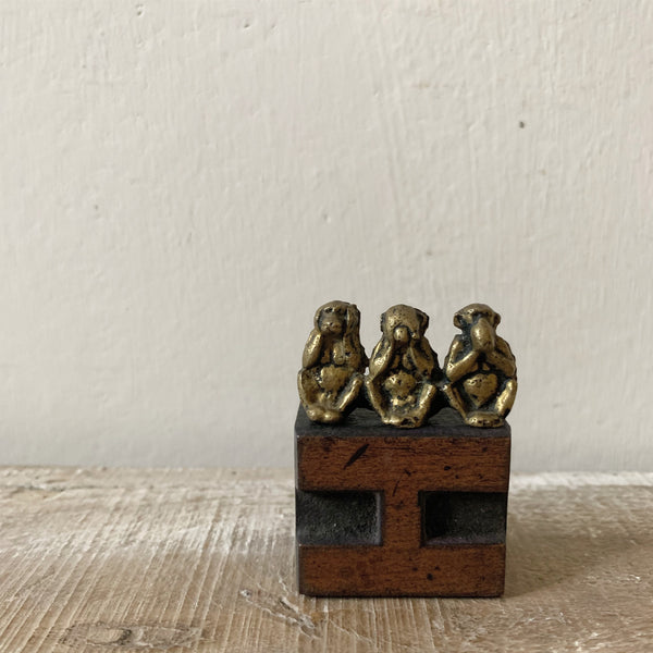 Vintage Miniature Brass Three Wise Monkeys