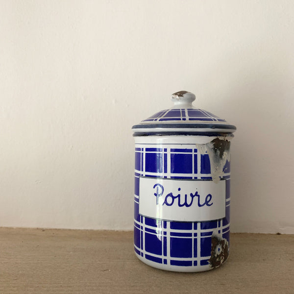 Antique French Poivre Enamel Canister