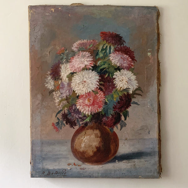 Vintage French Oil Painting on Canvas