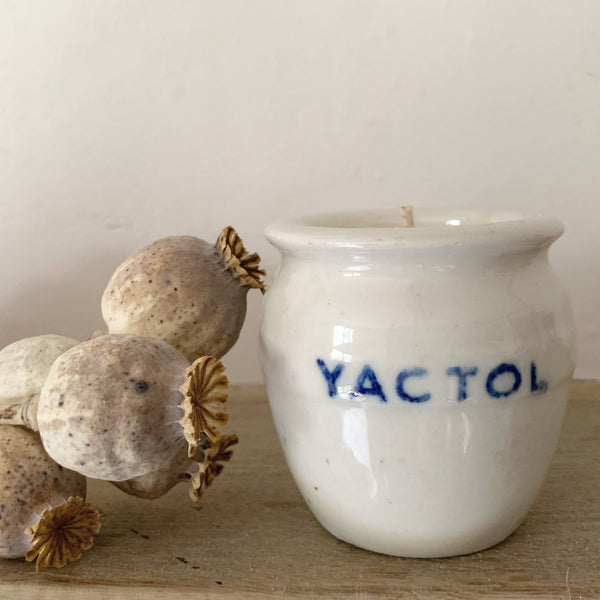 Vintage French Yoghurt Pot Candle in Green Tomato Leaf