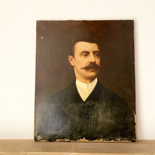 Vintage French Portrait on Canvas