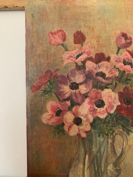 French Tall Floral Oil Painting