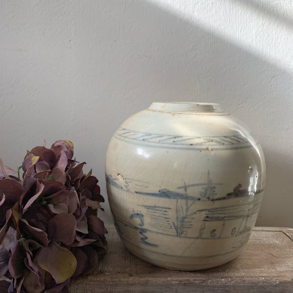 Large Blue Detail Vintage Ginger Jar