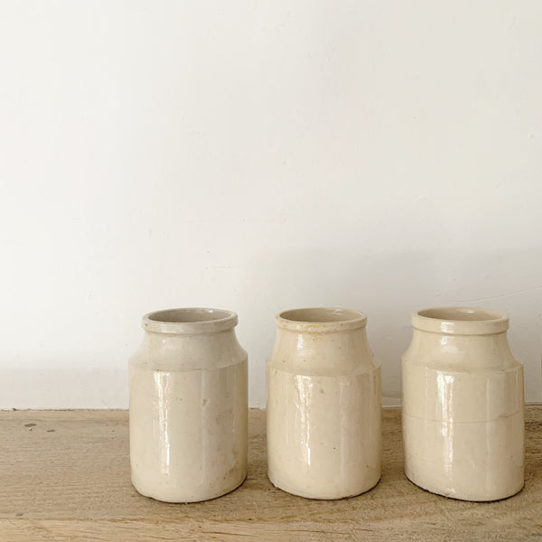 Angular Antique Stoneware Cream Churns