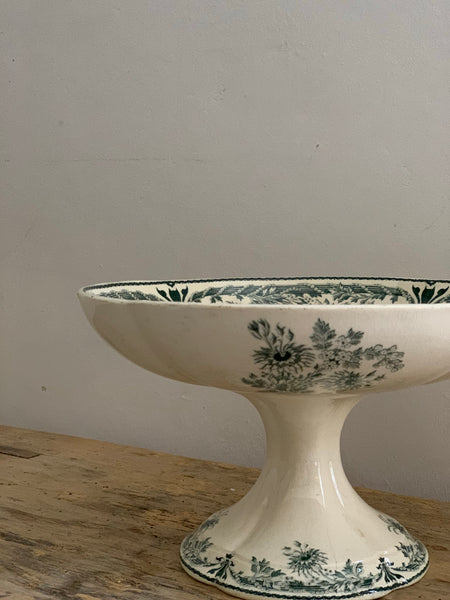 French Sarreguemines Transferware Cakestand