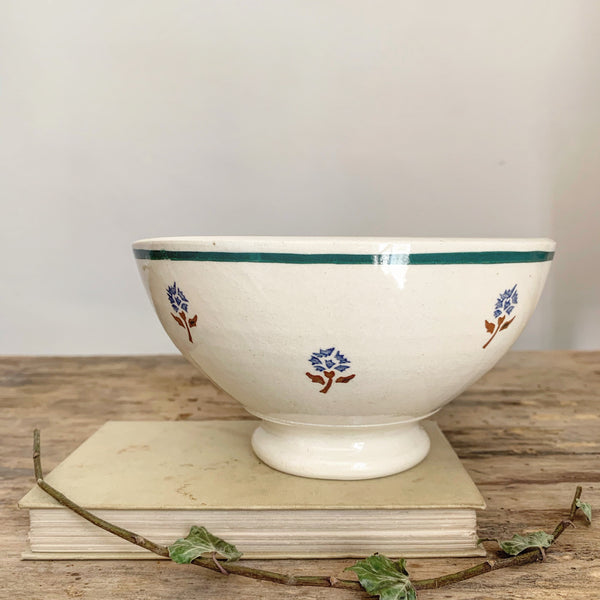 French Cute Floral Stencil Cafe au Lait bowl