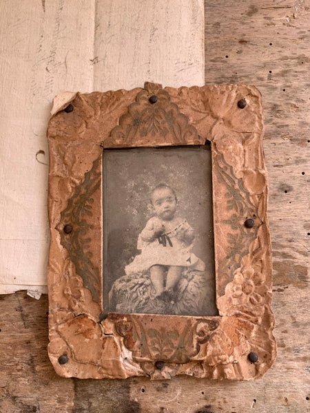 Small Vintage Rustic Framed Baby (Girl from 1800's)
