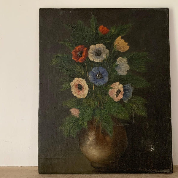 Vintage Dark French Shabby Oil Painting on Canvas