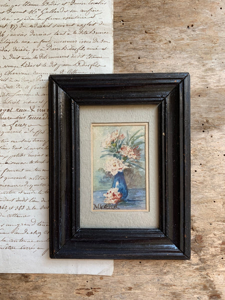 Miniature Framed Floral Watercolour Painting