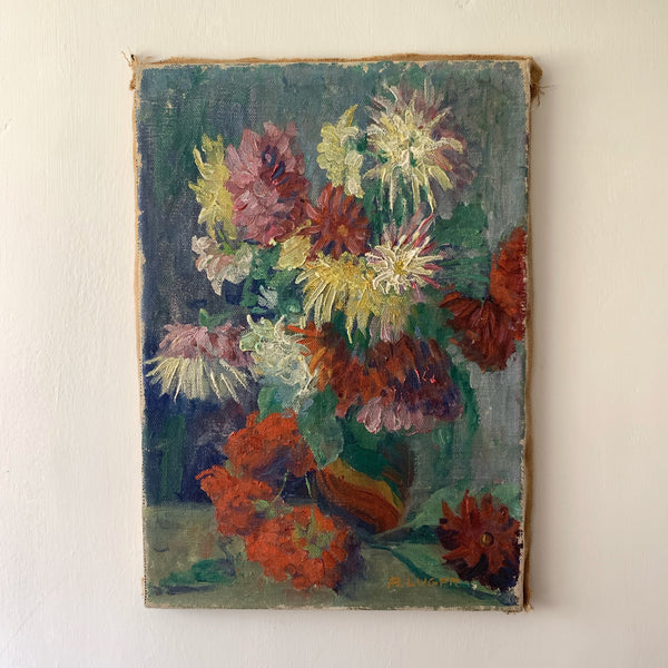 Vintage French Shabby Oil Painting on Canvas
