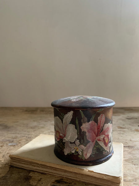 French Floral Wooden Round Box