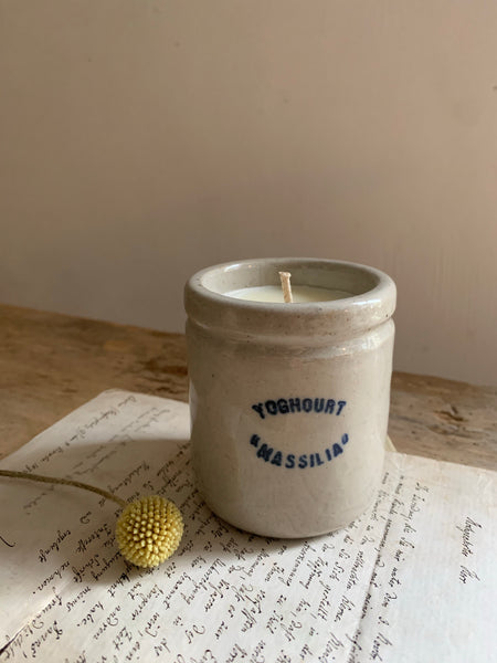 "Vintage French Yoghurt Pot Candle ""Massilia""  in Black Tea & Jasmine"