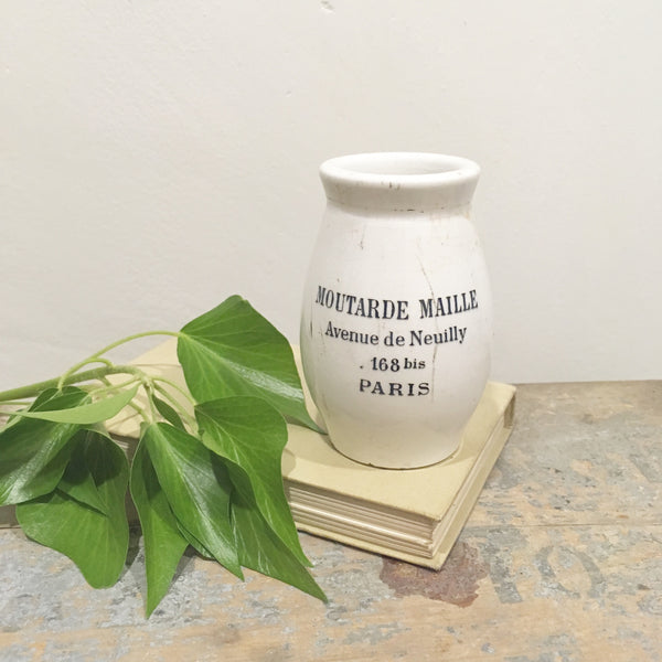 Branded Antique French Sarreguemines Porcelain Mustard Jar