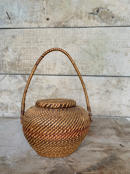 Vintage Handled Wicker Basket