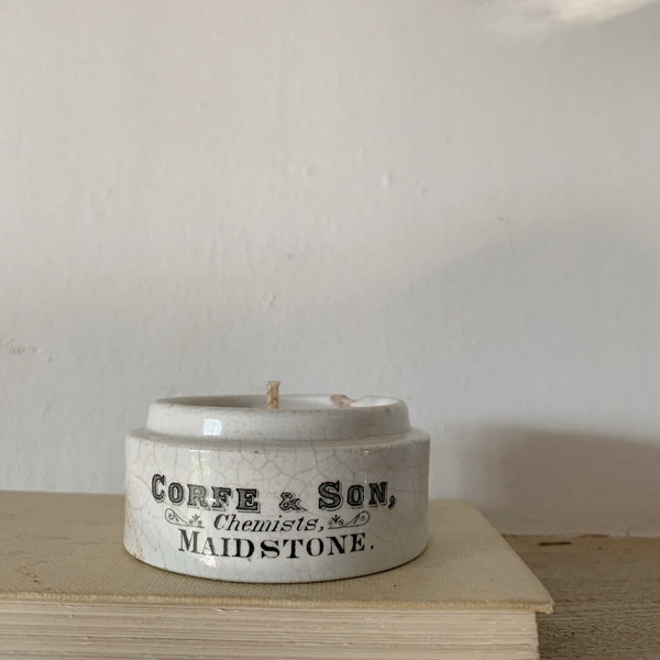 Vintage Corfe & Sons Chemist Pot Candle in Green Tomato Leaf
