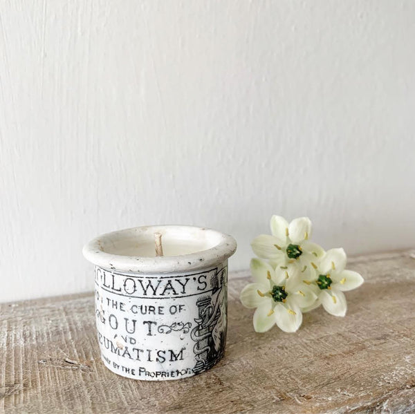 Vintage Holloway's Ointment Pot Candle in Lavender & Sea Salt