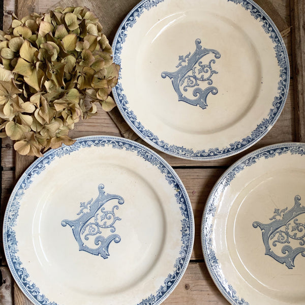 Vintage Monogramed French Plates