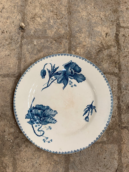 Gorgeous Vintage French Sarreguemines Flower Plate