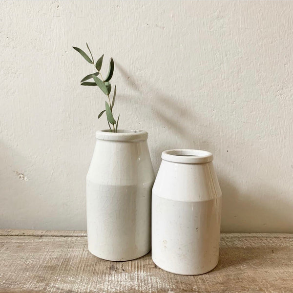 Antique Stoneware White Cream Churns