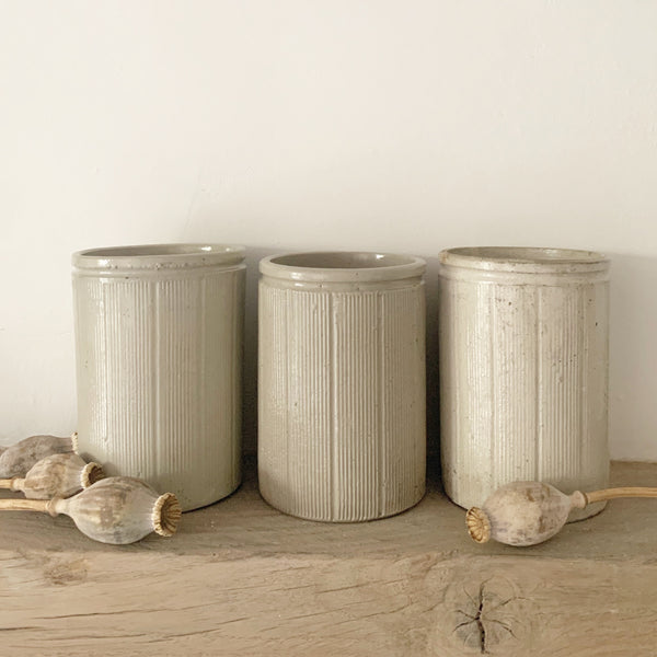 Large Vintage Ribbed Rustic Jam Jars
