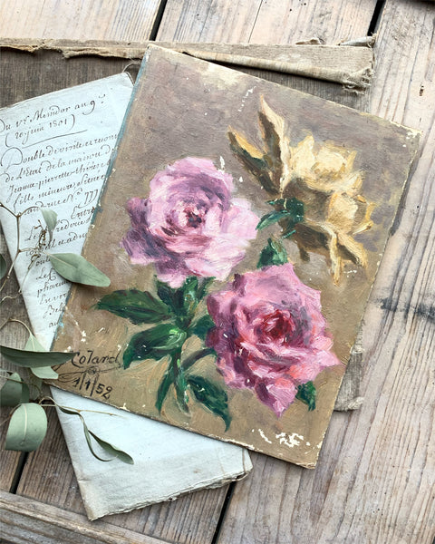 Small 1950s Vintage French Roses Oil Painting