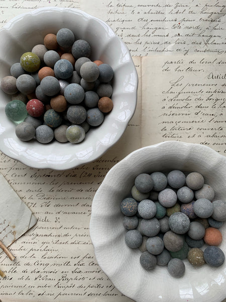 Collection of Antique Clay and Glass Mix Marbles