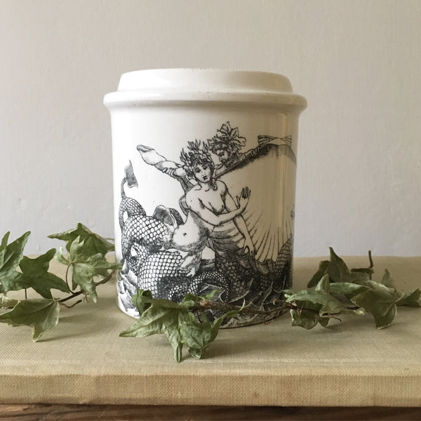 Vintage Whimsical Sirene Jar Candle in Green Tomato Leaf