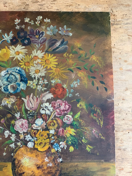 Dark French Floral Painting on Board