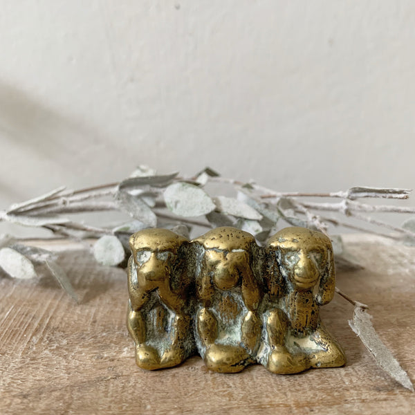 Vintage Brass Three Wise Monkeys