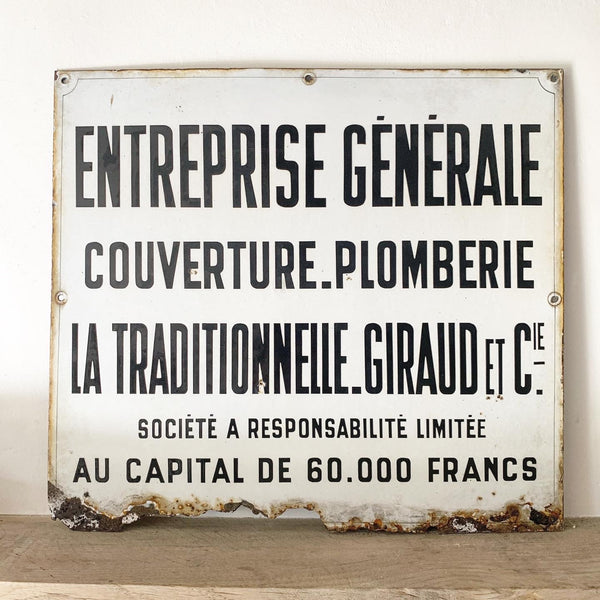 French Enamel Sign