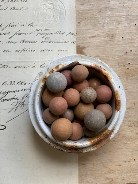 Collection of Small Antique Clay Marbles