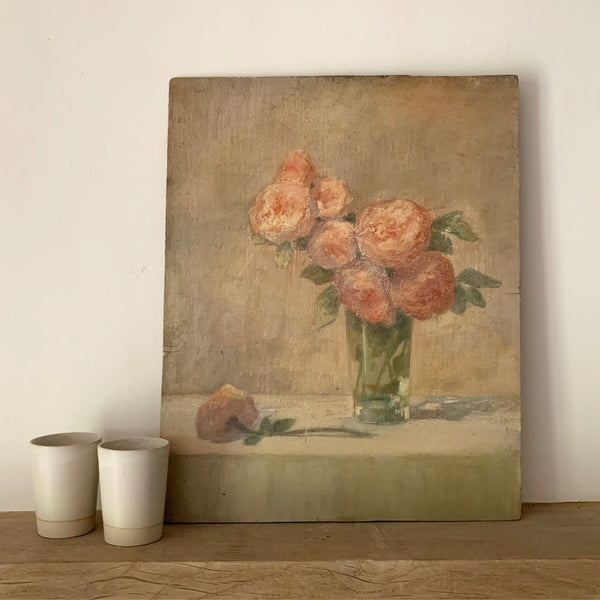 French Peach Tone Oil Painting