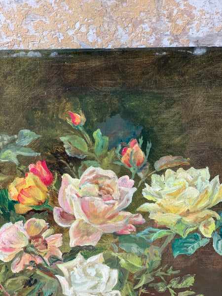 Vintage French Floral Oil Painting on Board