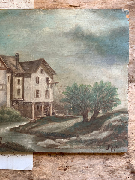 Antique Mill Oil Painting on Board
