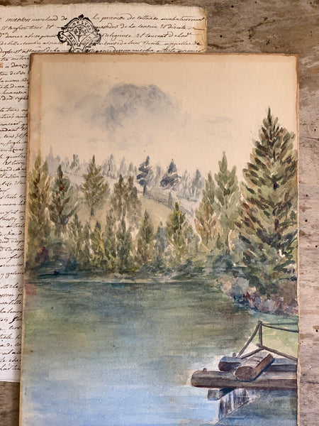French 1922 Painting On Board