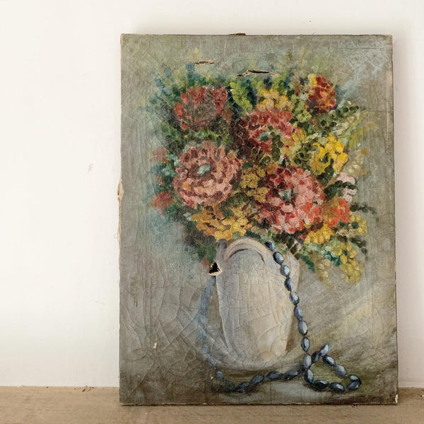 Vintage French Shabby Painting on Canvas