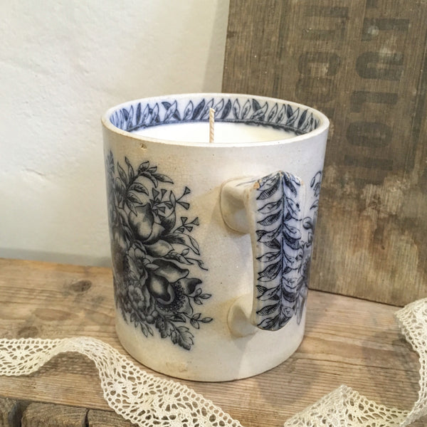 Large Floral Victorian Mug Candle in Earl Grey & Cucumber