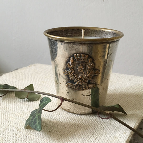 War time Silver Plate Pot Candle in Green Tomato Leaf